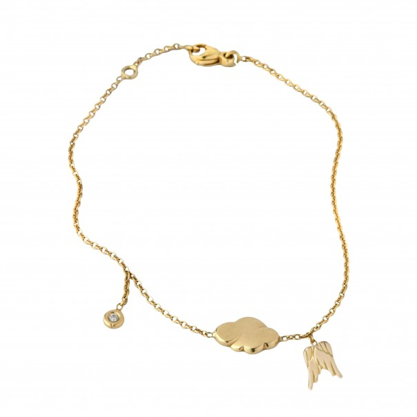 Yellow gold chain bracelet 3 motifs for child