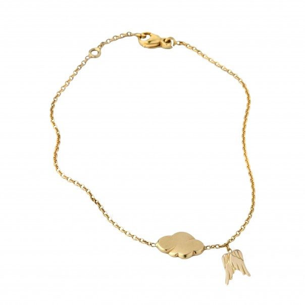 Yellow gold chain bracelet 2 motifs for child