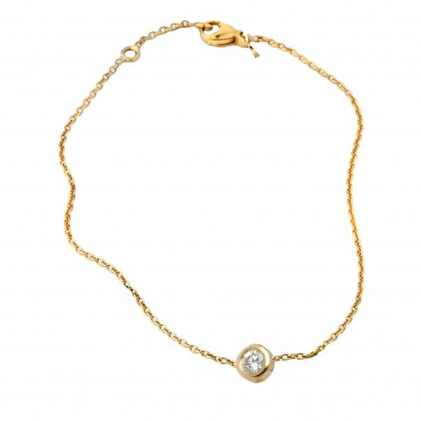 Collier solitaire diamant Or jaune