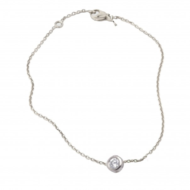 Collier solitaire diamant Or blanc