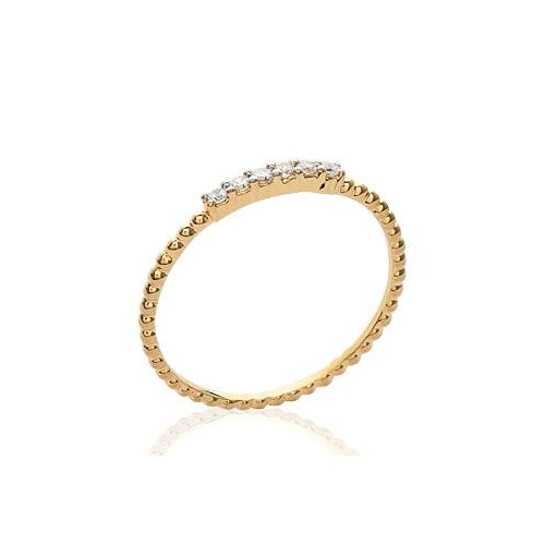 Bague fine barette diamants or