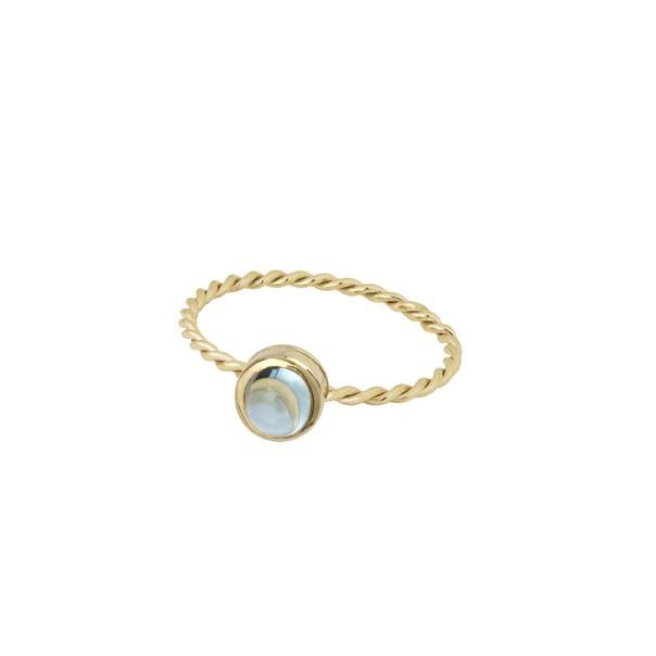 """Yellow gold ring and blue topaz """"In The Air"""""""