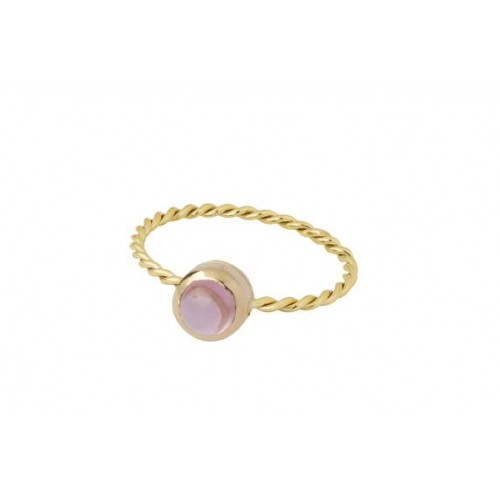 """Yellow gold ring and pink tourmaline """"In The Air"""""""