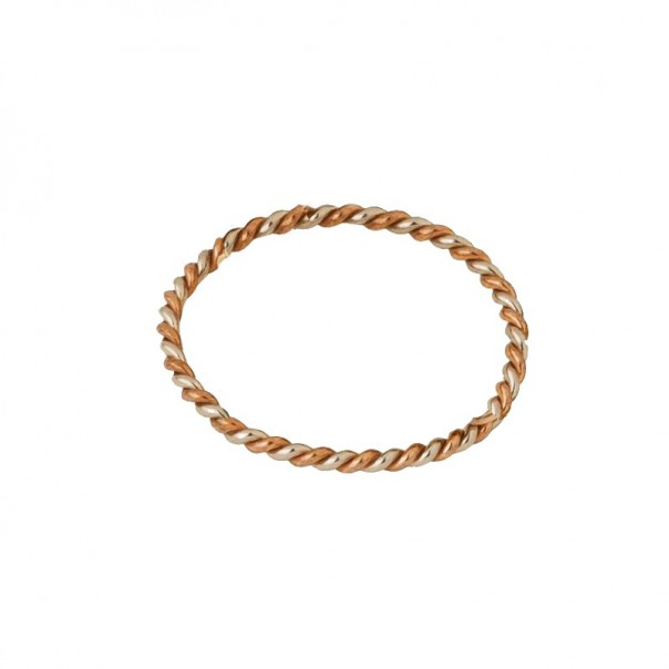 "Yellow gold and copper plain band ""Unique"""