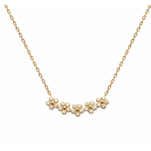 Collier fleurs or