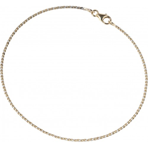 Yellow gold and silver bangle bracelet ¾