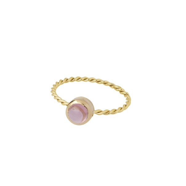 "Yellow gold ring and pink tourmaline ""In The Air"""