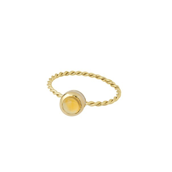 "Bague ""In The Air"" plaque or et citrine jaune"